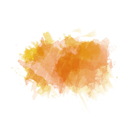 Orange and yellow watercolor painted stain isolated on white background, vector eps 10