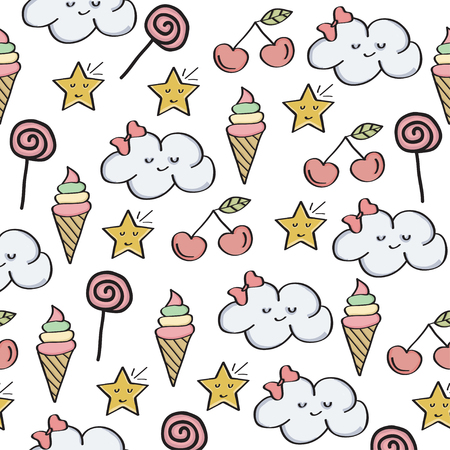 Doodle seamless pattern with magical sweets elements. Vector