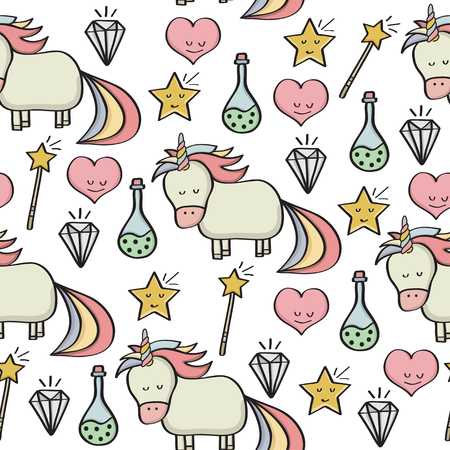 Doodle seamless pattern with unicorns and other fantasy magical elements. Vector