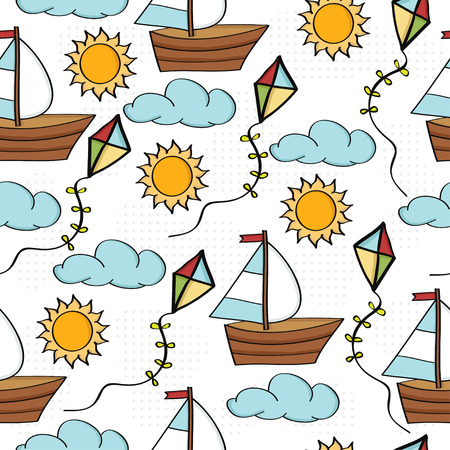Doodle cartoon seamless pattern summer holiday concept, vector format
