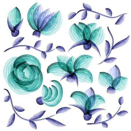 Watercolor floral elements suitable for wedding invitation or greeting card