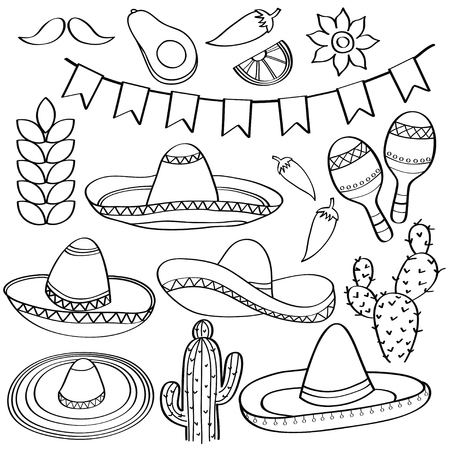 Doodle Mexico symbol collection  isolated in black and white for coloring, vector Illustration