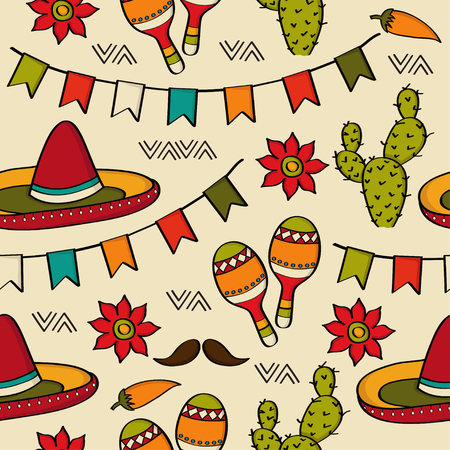Doodle seamless pattern with mexico symbols, vector format