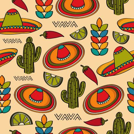 멕시코 기호, 벡터 형식으로 낙서 원활한 패턴
