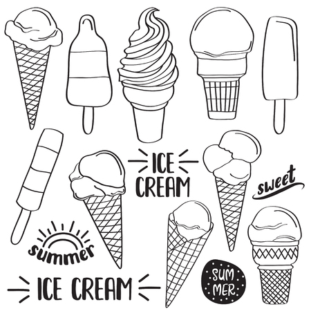 Doodle ice cream collection  isolated in black and white for coloring, vector Ilustração