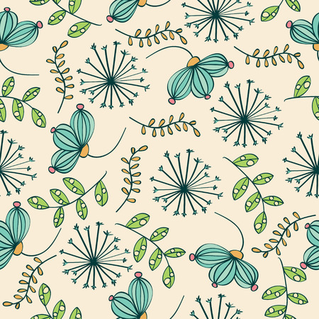 Doodle colorful seamless pattern with flowers and leafs