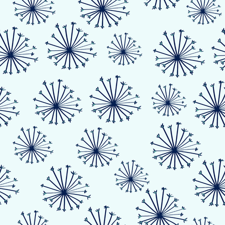 Doodle colorful seamless pattern with dandelions