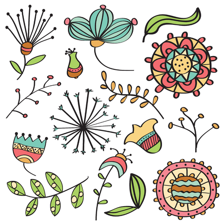 Doodle color flowers and leafs collection, vector format  イラスト・ベクター素材