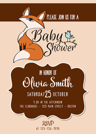 Baby shower card with cute little fox,customizable, printable 5 x 7 inch
