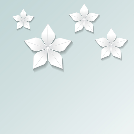3d render, abstract white paper flowers, pastel floral background, decorative design elements isolated on blue