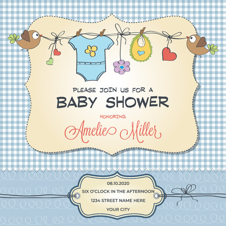 Baby shower card with baby clothings, customizable