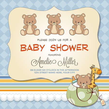 Baby shower card with teddy bears, customizable  イラスト・ベクター素材