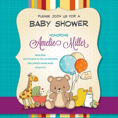 Tarjeta de baby shower con juguetes, personalizable