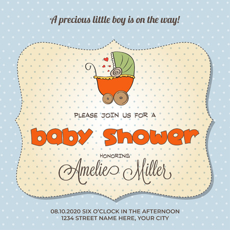 baby shower card with stroller, customizable