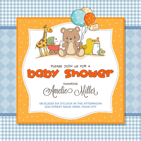 Baby shower card with toys, customizable Illustration