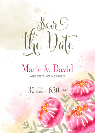 Beautiful wedding invitation with watercolor flowers. Save de date card. Vector Standard-Bild - 114762050