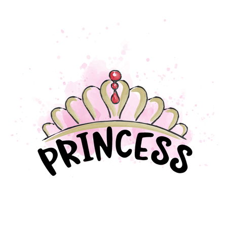 Hand drawn doodle tiara in watercolor style, vector format Vectores