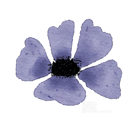 Watercolor blue flower isolated on white background, vector format