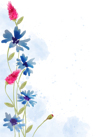 Beautiful hand painted floral background in watercolor style, vector format 向量圖像