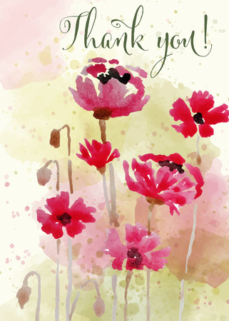 """Bella carta floreale ad acquerello con messaggio """"Grazie"""", vettore"""