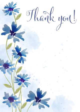 """Piękna akwarela karta kwiatowy z wiadomością """"Dziękuję"""", wektor"""