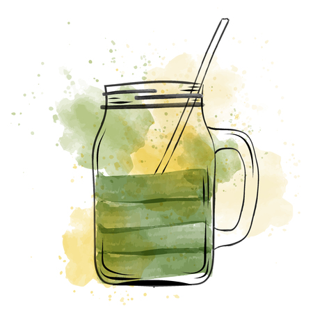 Hand drawn green smoothie jar in watercolor style, vector format 스톡 콘텐츠 - 111717577
