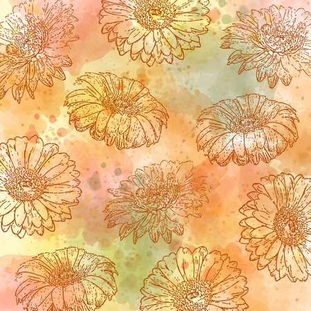 watercolor autumn pastel background with daisies, vector format Çizim
