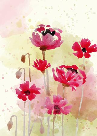 Hermoso fondo floral pintado a mano en estilo acuarela, formato vectorial