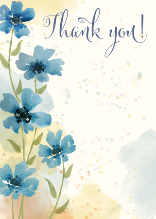 Beautiful watercolor floral card with message  Thank you , vector