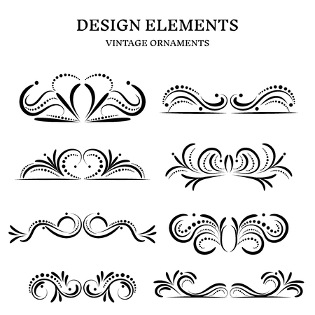 vintage design ornaments set, vector format Illustration