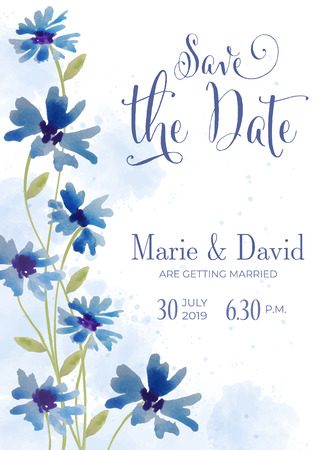 Beautiful floral wedding invitation in watercolor style, vector format, 5 inch x 7 inch