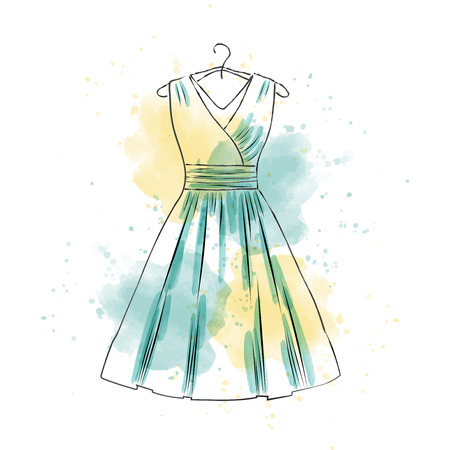 hand drawn watercolr woman dress, vector format