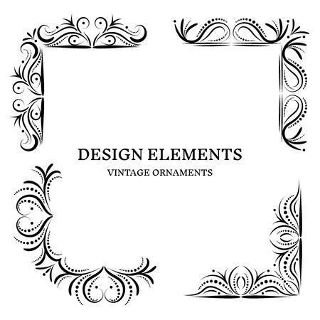 Vintage design oranamets, corners set, vector format