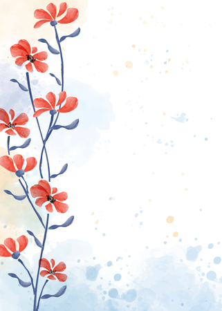 Beautiful hand painted floral background in watercolor style, vector format Illustration