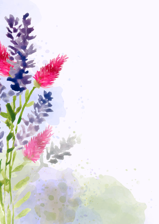 Beautiful hand painted floral background in watercolor style, vector format Illusztráció
