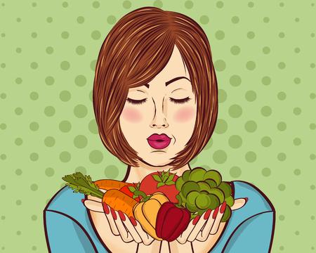 mooie roodharige dame met groenten in zijn handen, vectorillustratie