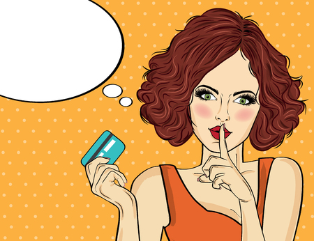 Beautiful woman  in pop art style with credit card showing hand silence sign. Vector illustration Foto de archivo - 109467393