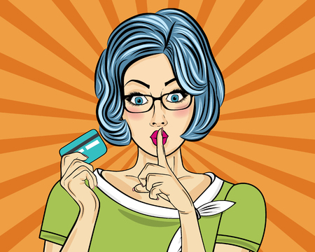 Beautiful woman  in pop art style with credit card showing hand silence sign. Vector illustration Çizim