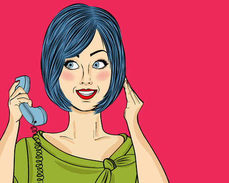 Delighted  pop art woman chatting on retro phone. Comic woman . Pin up girl. Vector illustration