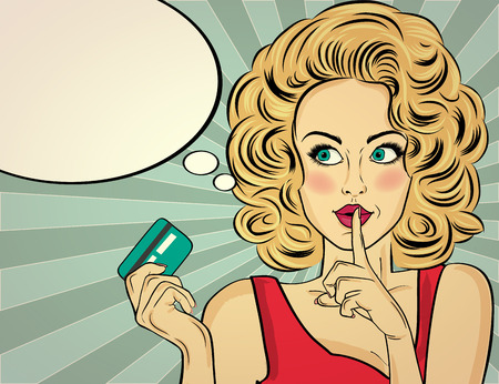 Beautiful  blonde woman  in pop art style with credit card showing hand silence sign. Vector illustration Foto de archivo - 109467402