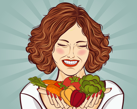 beautiful red-haired lady with vegetables in his hands, vector illustration  イラスト・ベクター素材