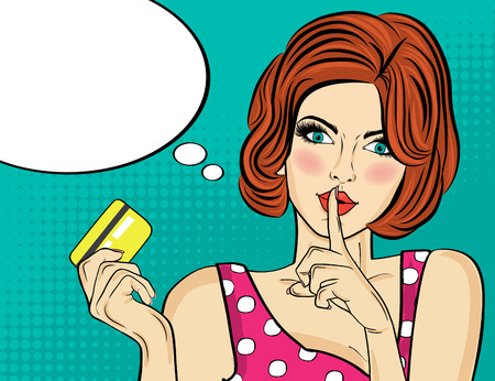 Beautiful woman  in pop art style with credit card showing hand silence sign. Vector illustration Foto de archivo - 109467410