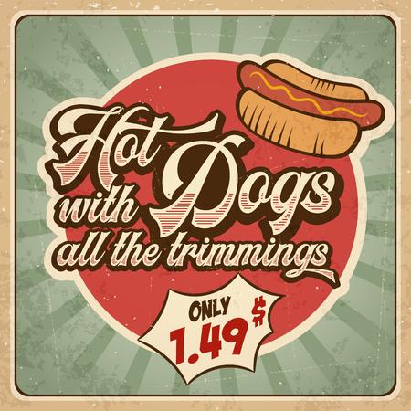 Retro advertising restaurant sign for hot dogs. Vintage poster, vector eps10 Vektorgrafik