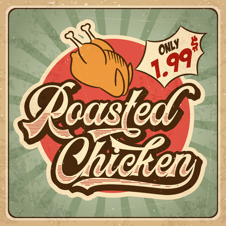 Retro advertising restaurant sign for roasted chicken. Vintage poster, vector eps10