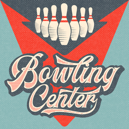 Retro reclame bowling poster. Vintage poster. Vector Eps10