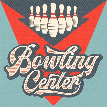 Retro Werbung Bowling Poster. Weinleseplakat. Vektor eps10