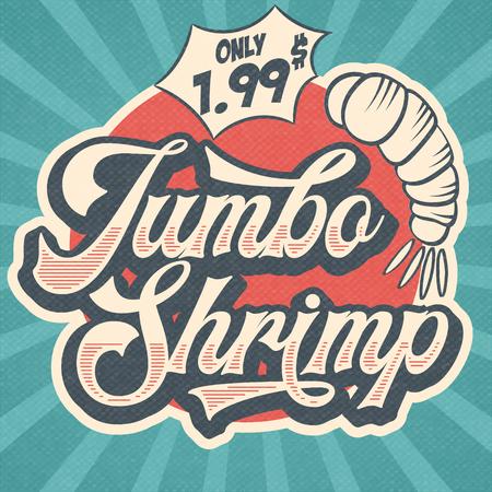 Signe de restaurant publicitaire rétro pour crevettes géantes. Affiche vintage, vecteur eps10