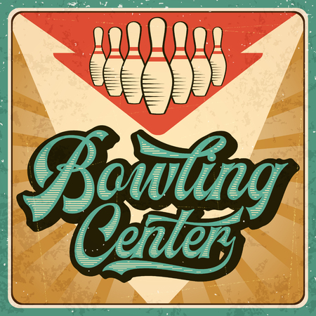 Retro advertising bowling poster. Vintage poster. Vector eps10 Çizim