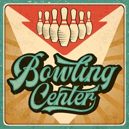 Retro Werbung Bowling Poster. Weinleseplakat. Vektor eps10 Vektorgrafik