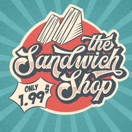 Retro advertising restaurant sign for sandwich shop. Vintage poster, vector eps10 Vecteurs